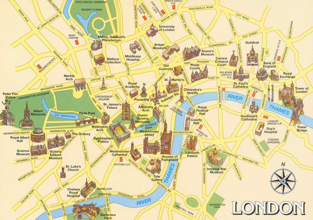 London Attractions and nearest underground Stations – London Map of Tourist Attractions