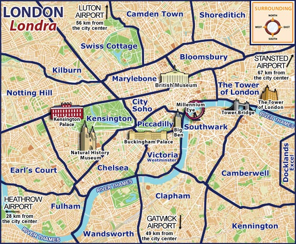 Maps of London and Central London Tourist Attractions