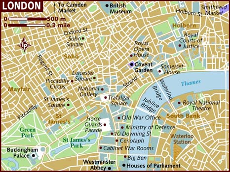 London Printable Tourist Download Attractions Map Of