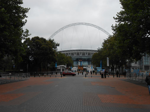 View of Wembley stadium as you walk